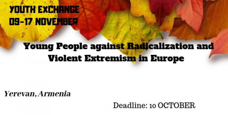 "CALL OF PARTICIPANTS FOR YOUTH EXCHANGE ""Young People against Radicalization and Violent Extremism in Europe"""